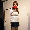 Rika School Girl in White Highsocks is Clothgagged