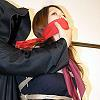 Rika School Girl in Black Pantyhose is Clothgagged